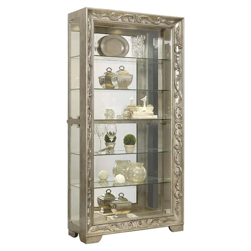 Pulaski Metallic Scroll Side Entry Mirrored Curio Cabinet