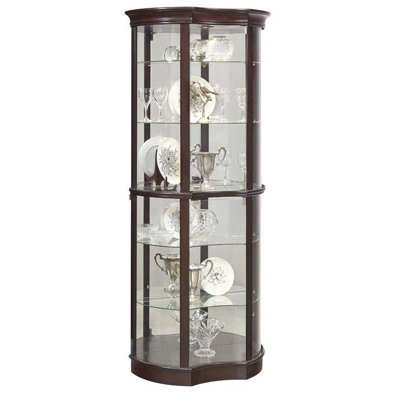 Pulaski Concave Front Mirrored Curio Cabinet in Sable