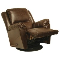 Catnapper Maverick Leather Swivel Glider Recliner Chair in ...