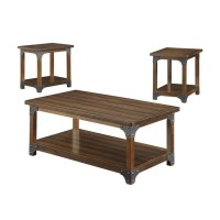 Coaster 3 Piece Coffee Table Set in Brown - 703587