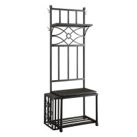 Coaster Coat Rack with Bench in Black - 900915