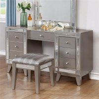 Coaster 2 Piece Mirrored Vanity Set in Metallic Mercury ...