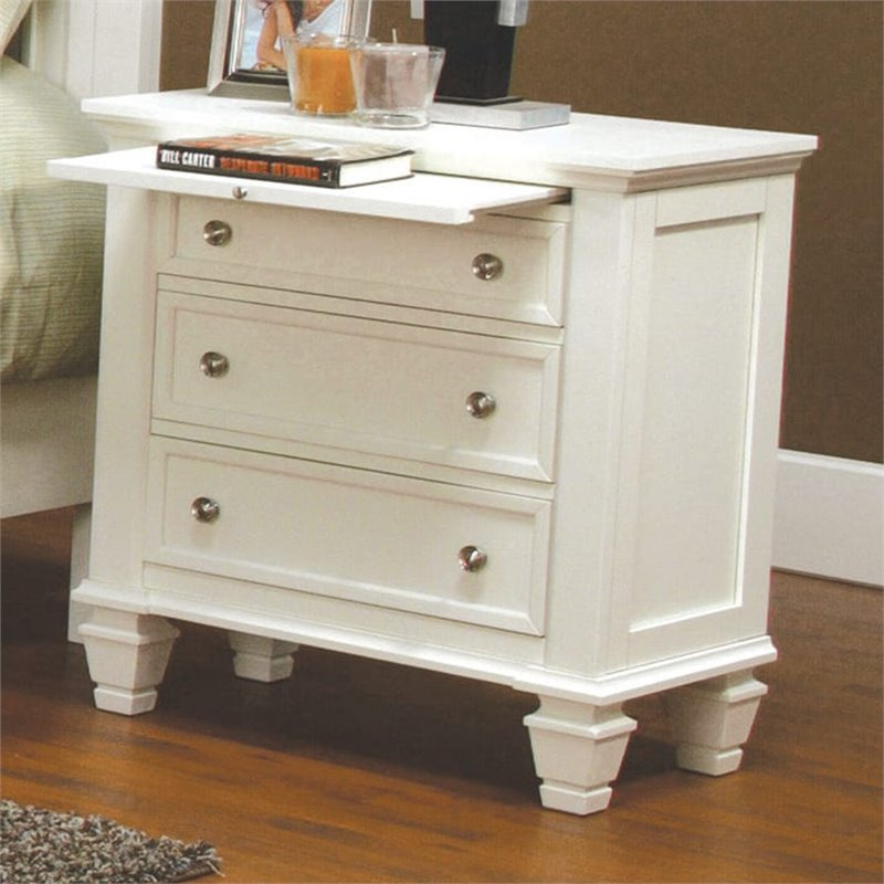 Deals On Sofas And Loveseats Coaster Classic Nightstand With Pull Out Shelf In White