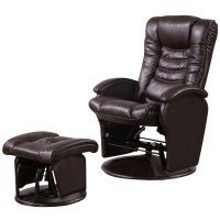 Coaster Faux Leather Glider Recliner Chair with Ottoman in ...