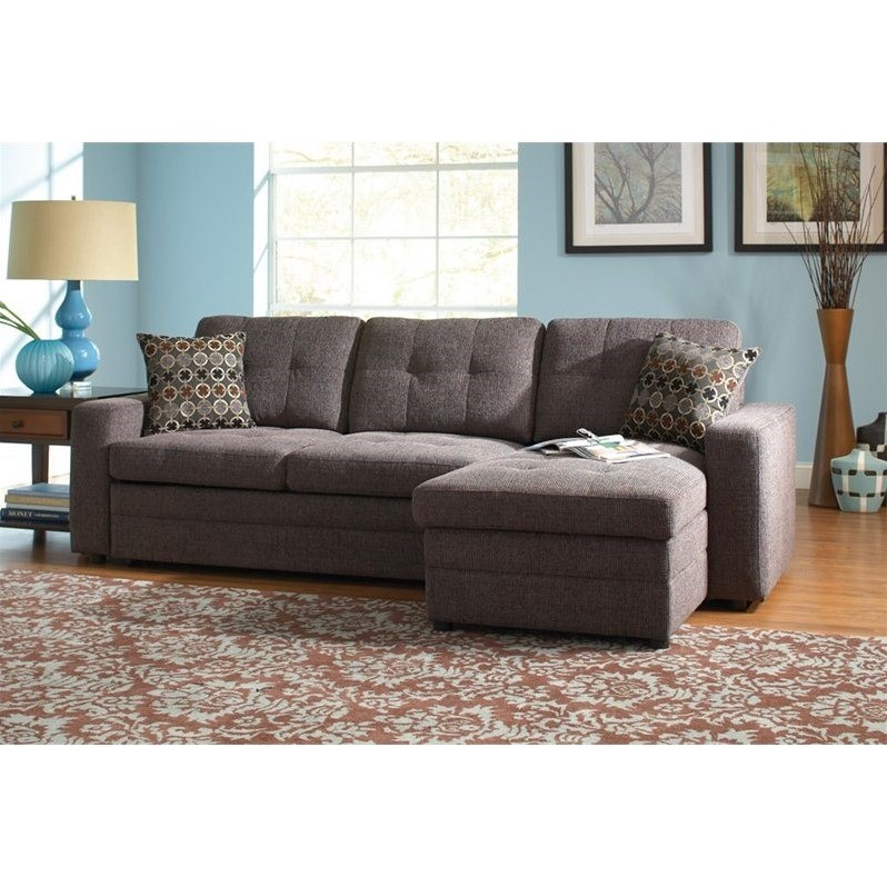 Decorative Awnings Coaster Chenille Sleeper Sofa With Storage In Charcoal And