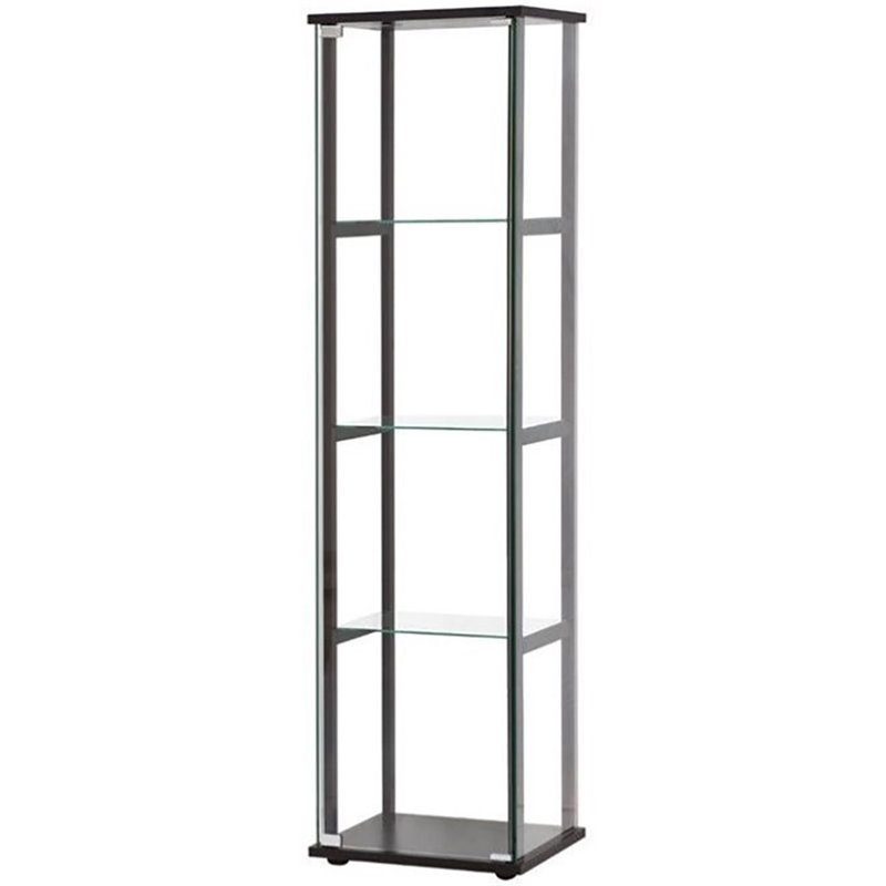 Contemporary Curio Cabinets Coaster Contemporary Glass Curio Cabinet In Black - 950171ii