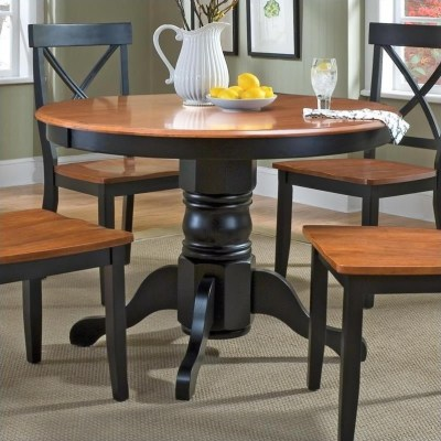 Home Styles Round Pedestal Casual Black & Cottage Oak Finish Dining Table | eBay