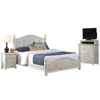 3 Piece Wicker King Bedroom Set in White - 5548-6020