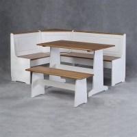 Linon Ardmore Corner Kitchen Nook White Pine Dining Set   eBay