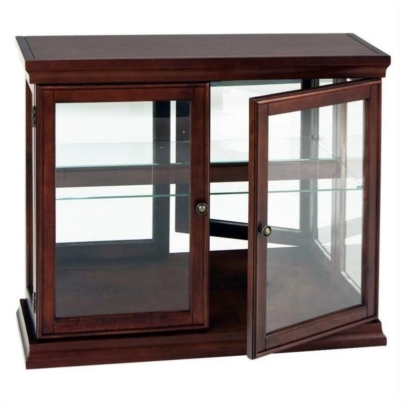 Southern Enterprises Mahogany Console/Sofa Table w/Gls Drs