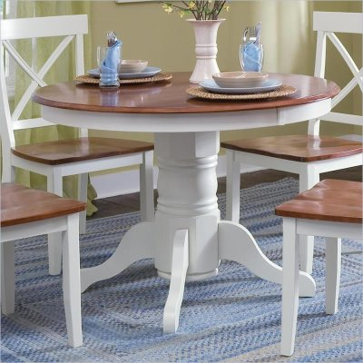 Home Styles Pedestal Casual Off White & Cottage Oak Finish Dining Table | eBay