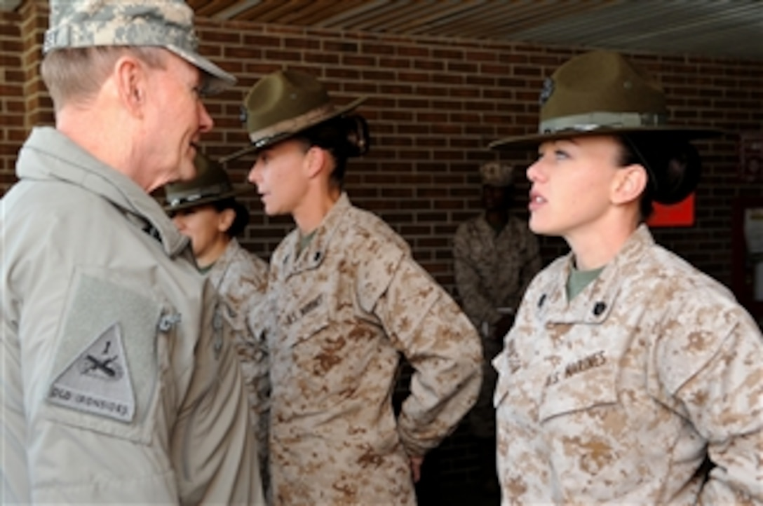 Gen Dempsey talks with US Marine Corps drill instructors