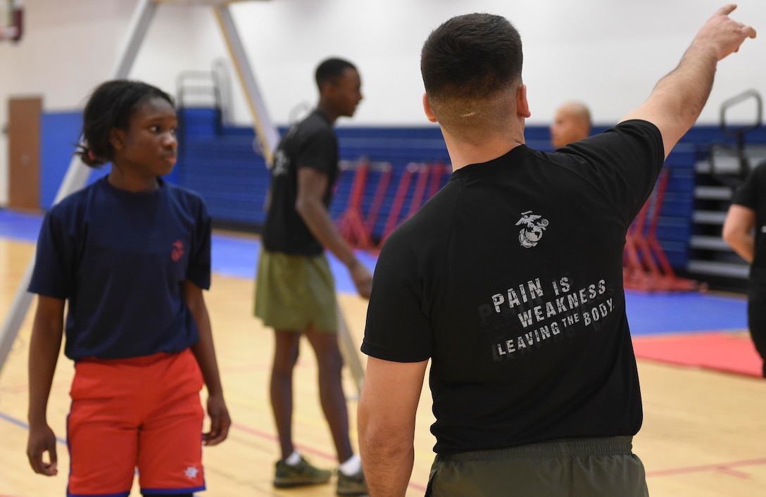 Female US Marine Corps poolees endure DEP workout