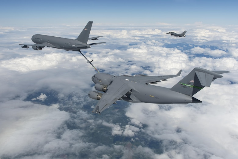 KC-46 completes milestone by refueling fighter jet, cargo plane