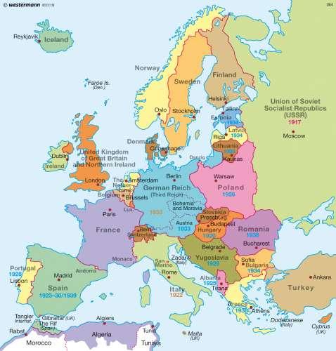 Maps - Europe before World War Two (1939) - Diercke International Atlas