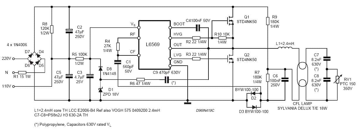 18w cfl circuit diagram
