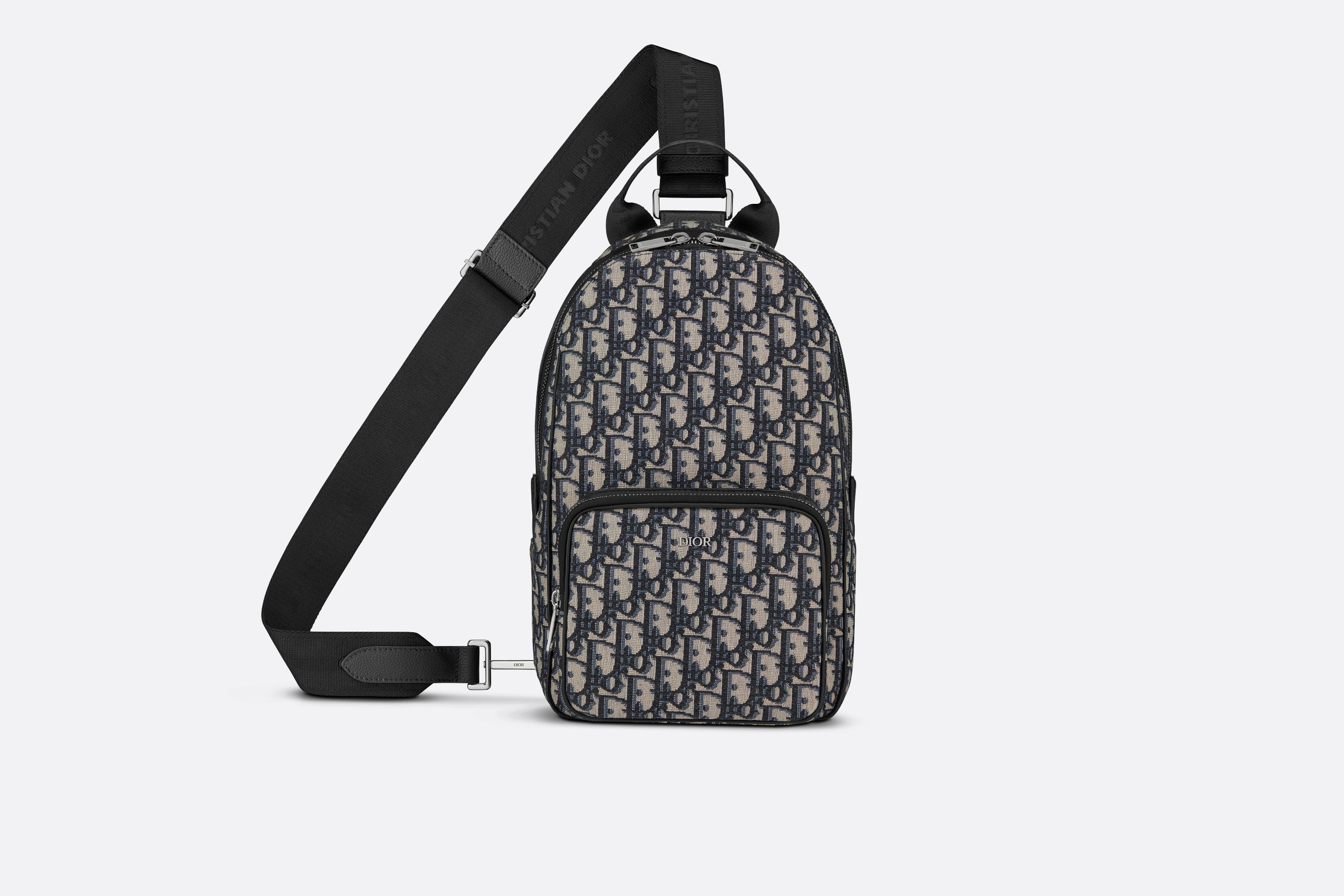 Crossbody Backpack Beige And Black Dior Oblique Jacquard Leather Goods Man Dior