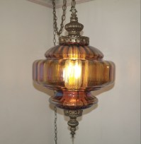 VINTAGE IRIDESCENT AMBER GLASS HANGING SWAG LAMP - Nex ...