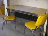 Retro metal kitchen table & 6 yellow chairs - Nex-Tech ...