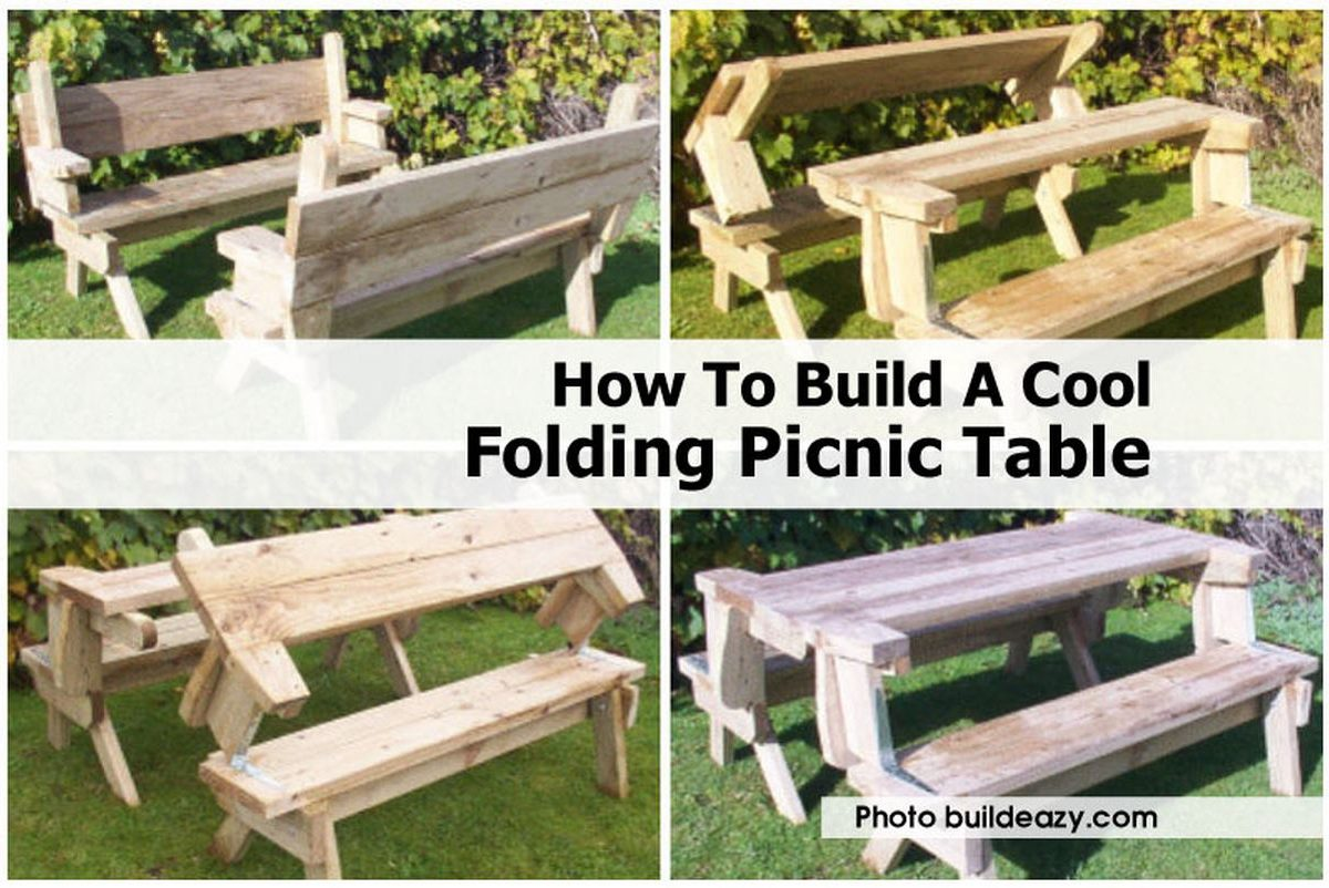 Built In Folding Table How To Build A Cool Folding Picnic Table
