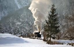Mocănița de la Vișeu de Sus, la muncă în iarnă