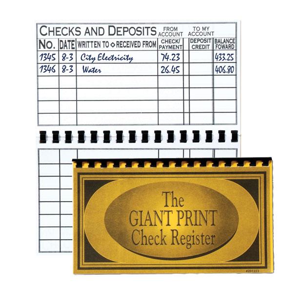 Large Print Check Register - Checkbook Register - Easy Comforts