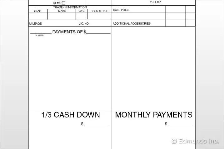The Car Dealer#039;s Four-Square Worksheet - Edmunds Auto Finance Tips