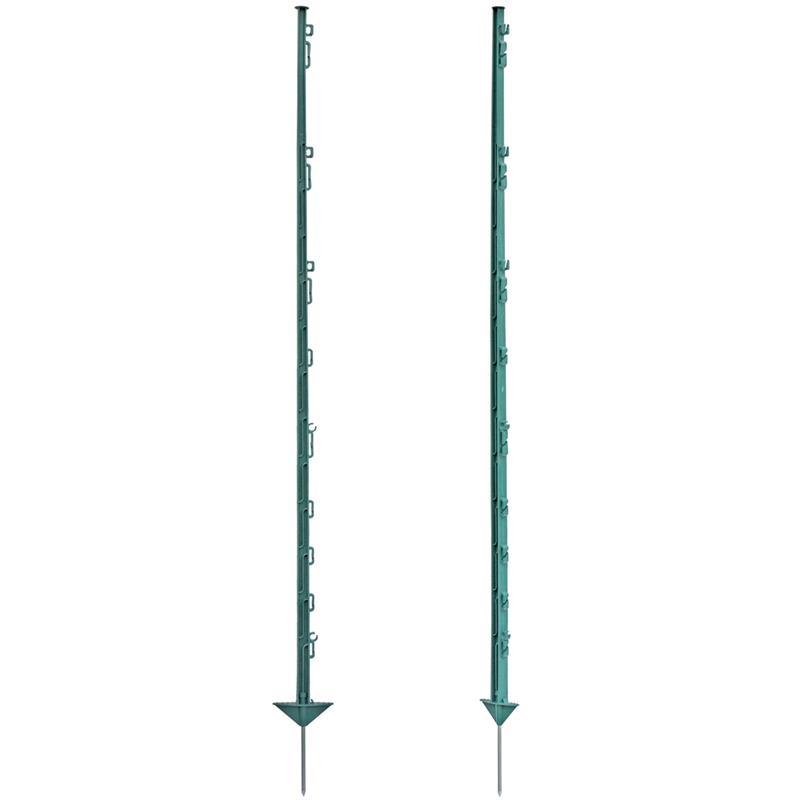 60x VOSSfarming Electric Fence Posts, Plastic, 150 cm, 14 Lugs, Green - einza
