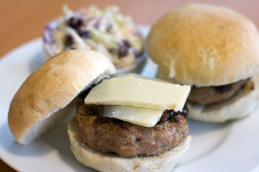 Onion Studded Hamburger Rolls
