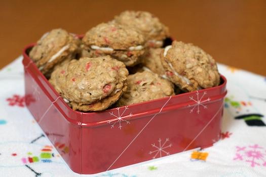 Peppermint Crunch Sandwich Cookies