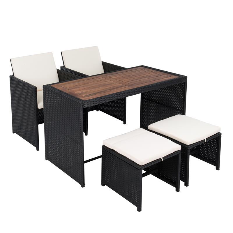 Gartenmoebel Rattan Stuehle Unter Tisch