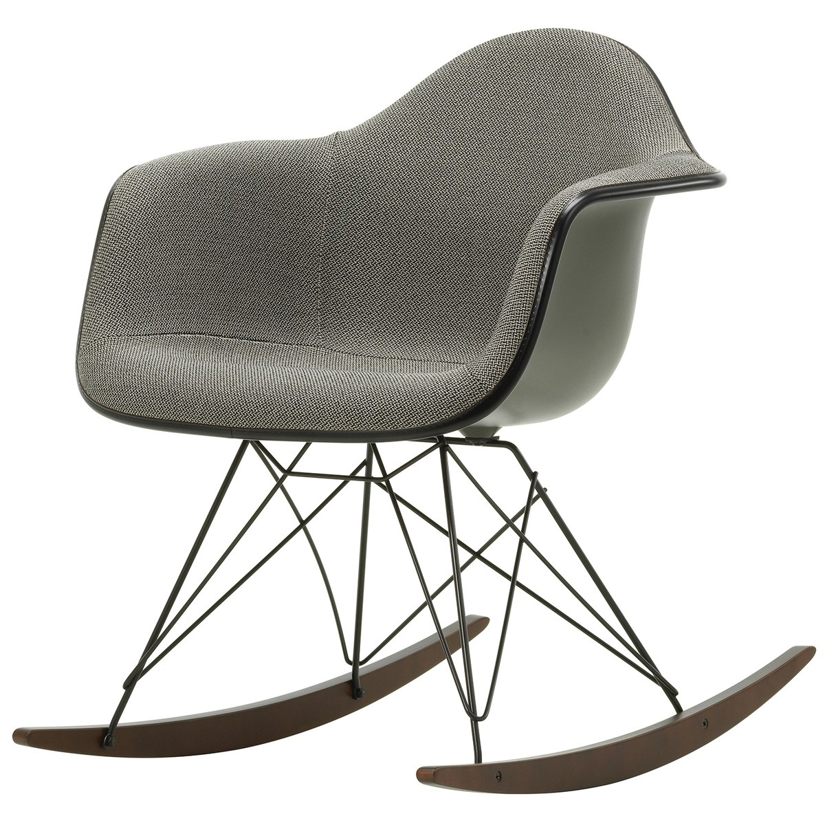 Eames Vitra Eames Rar Rocking Chair Upholstered Mother Of Pearl Black