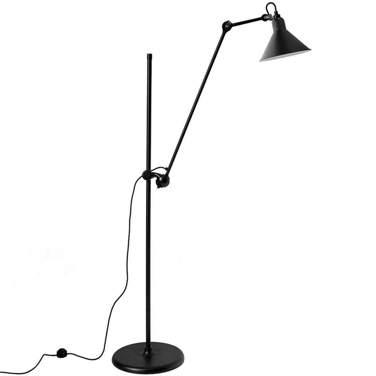 Lampe Gras Lampe Gras 215 Floor Lamp Conic Shade Black