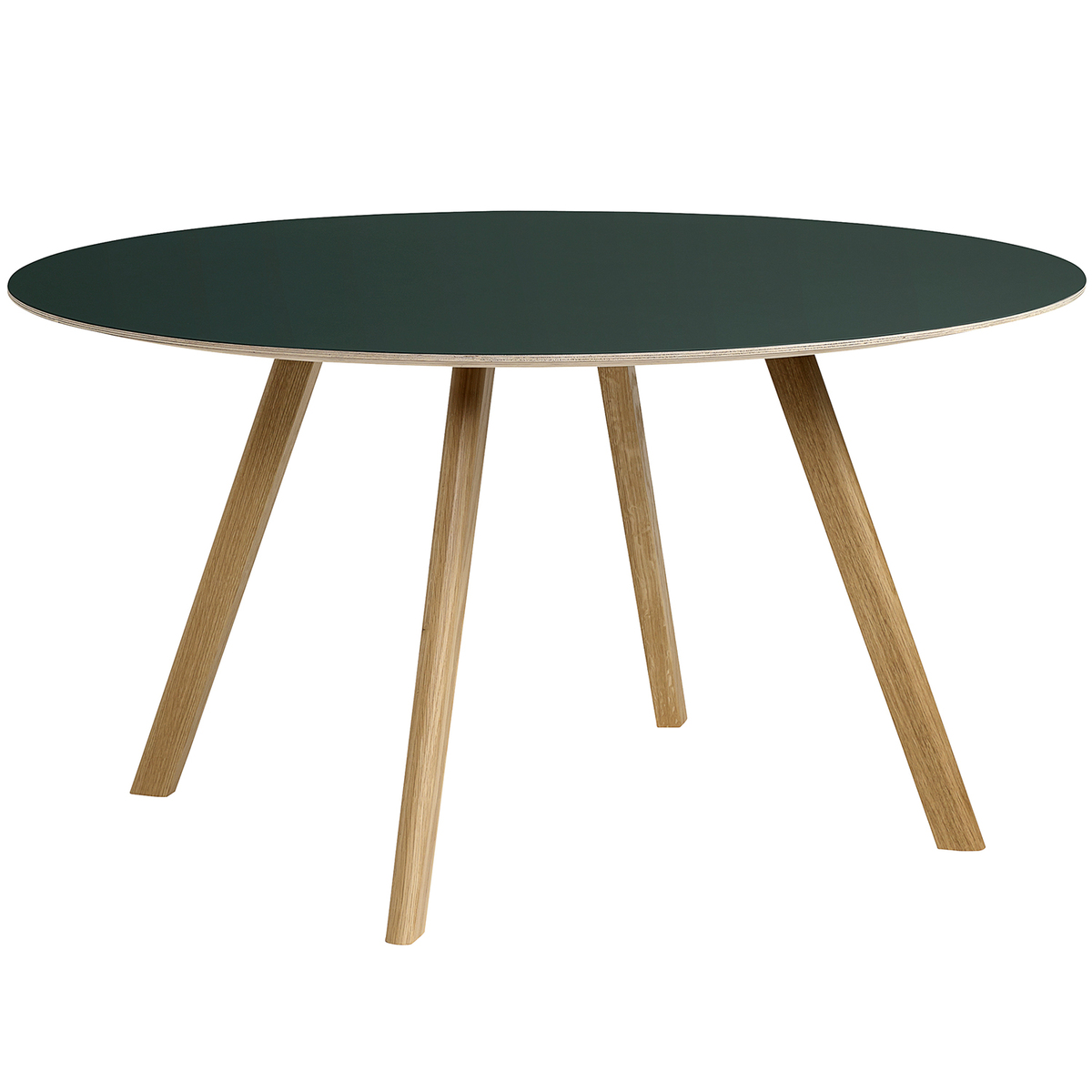 Table 140 Hay Cph25 Table Round 140 Cm Lacquered Oak Green Lino Finnish