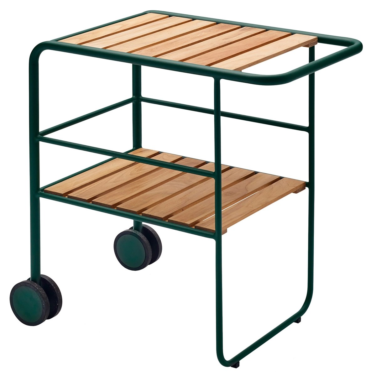 A Frame Trolley Fuori Serving Trolley Green Teak