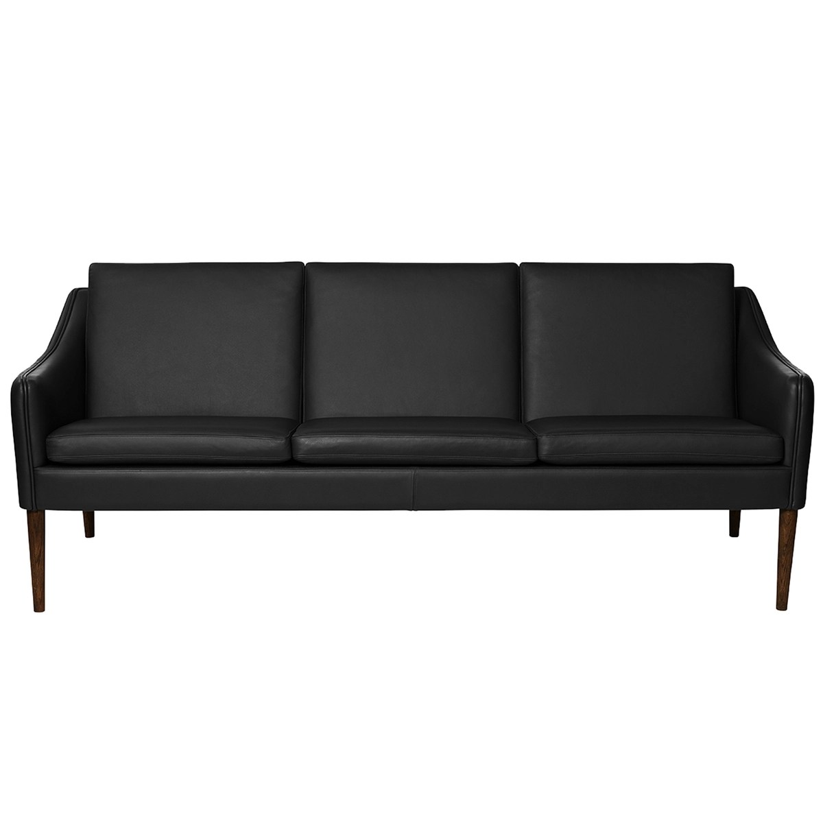 Warm Nordic Mr Olsen Sofa 3 Seater Walnut Black Leather Finnish Design Shop