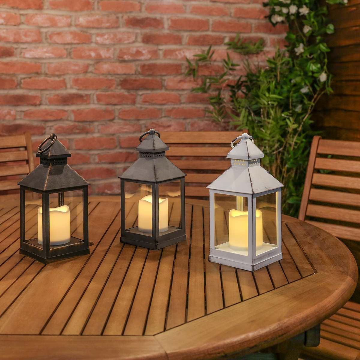 Outdoor Low Voltage Lighting Bulbs Outdoor Battery Flickering Candle Lantern, 24cm