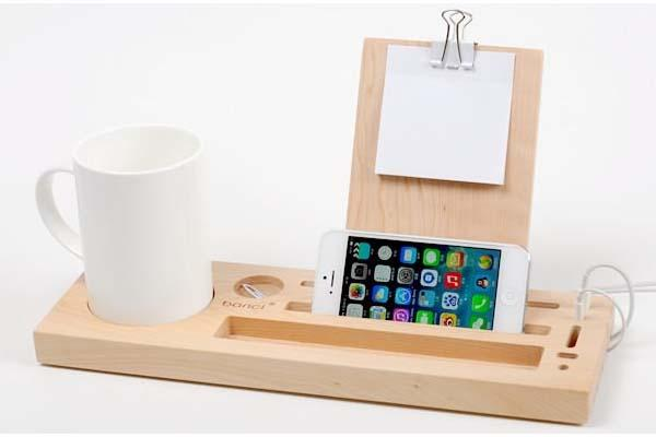 The Handmade Wooden Desk Organizer With Phone Stand And