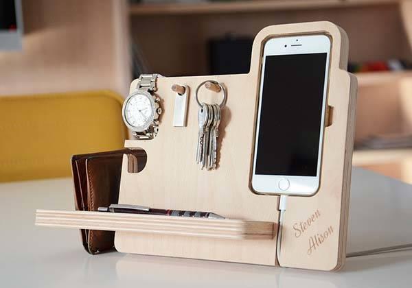 The Handmade Desk Organizer Boasts Integrated Watch Stand