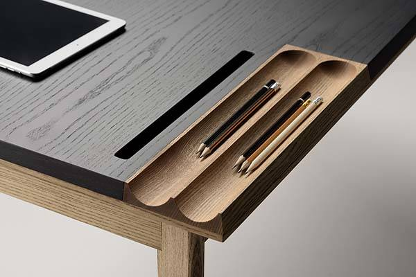 Smart Furniture Ollly Wooden Desk With Compact Drawer, Integrated Phone
