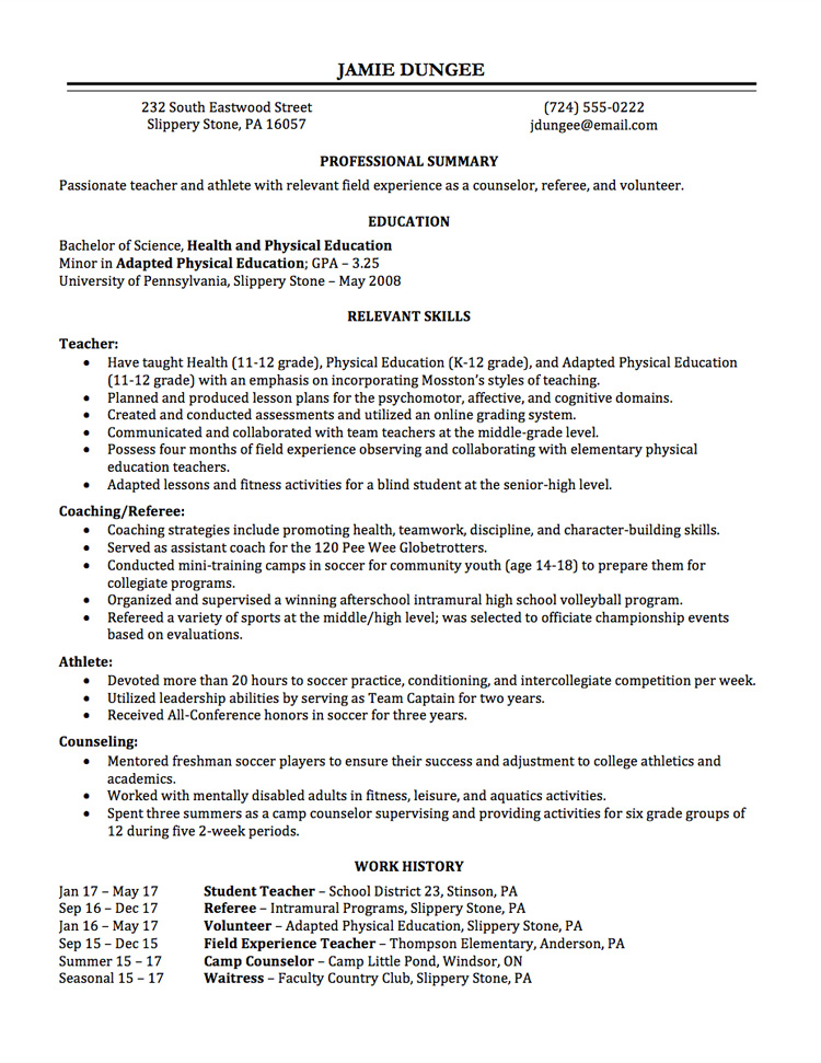 Resume Writing Employment History - Full Page - Relevant Experience Resume