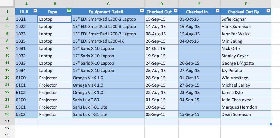 Google Sheets Sorting and Filtering Data