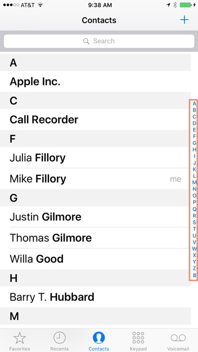 iPhone Basics Adding and Managing Contacts - contact list