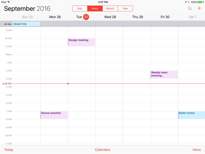 iPad Basics Calendar
