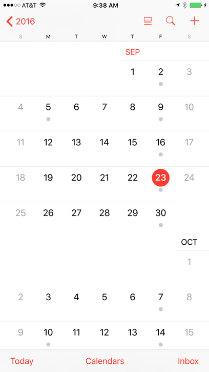 iPhone Basics Calendar - Full Page