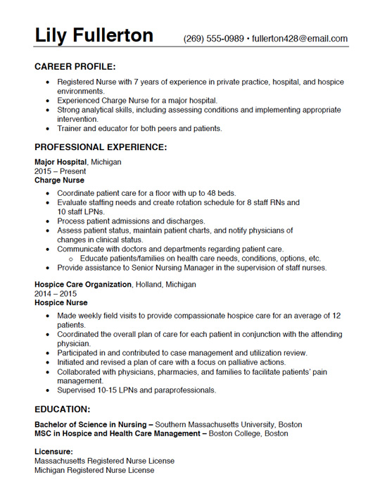 Resume Writing Gallery of Sample Resumes - Full Page