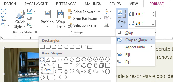 Word 2013 Formatting Pictures - on word