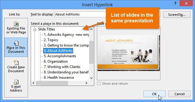 PowerPoint 2013 Hyperlinks and Action Buttons