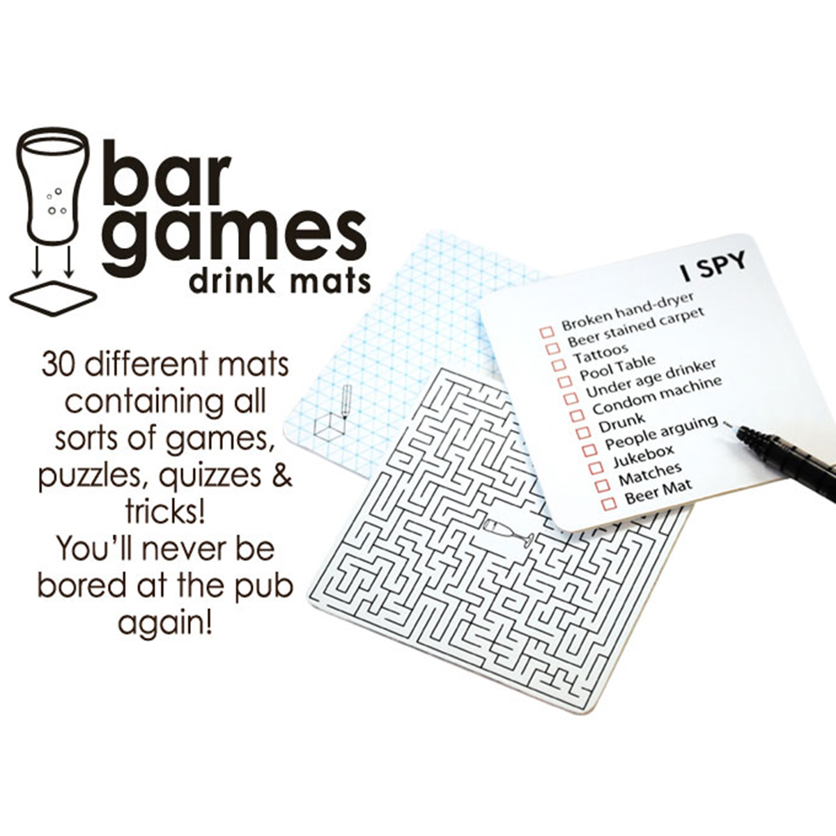 Bar Drink Mats Bar Games Drink Mats Fun Gifts From Gettingpersonal Co Uk