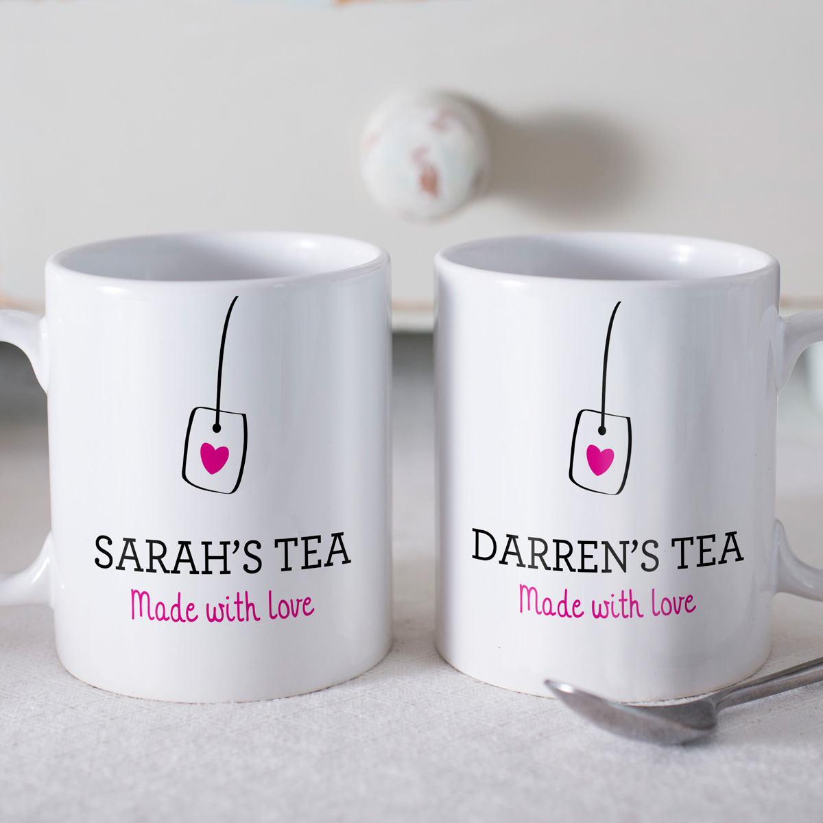 Personalised set of 2 mugs made with love